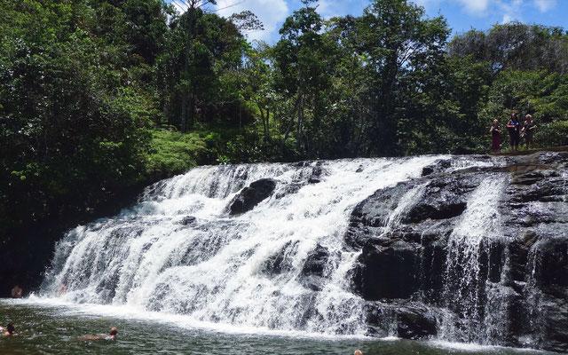 Im Urwald haben wir Gelegenheit unter einem Wasserfall in einem kalten, klaren See zu baden.