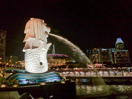 Merlion by night, Singapore (Photo by Gabriele Ferrando - LA MIA ASIA)
