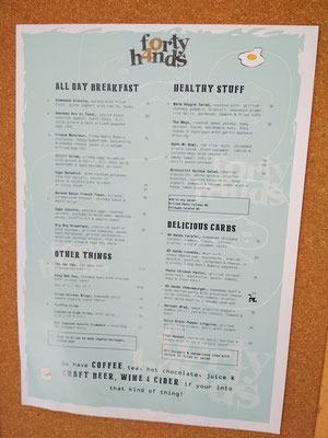 Menu del Forty Hands Coffee Tiong Bahru, Singapore (Photo by Gabriele Ferrando - LA MIA ASIA)