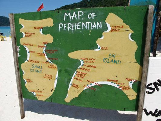 Mappa delle isole Perhentian (Photo by Gabriele Ferrando - LA MIA ASIA)