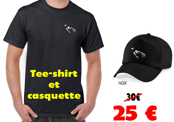 tee shirt et casquette pêche a la mouche