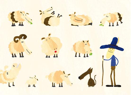 Postkarte Schafe und Schäfer