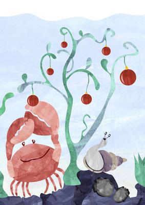 Postkarte Weihnachtskrabbe