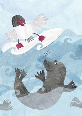Postkarte Lachmöwe und Seehund