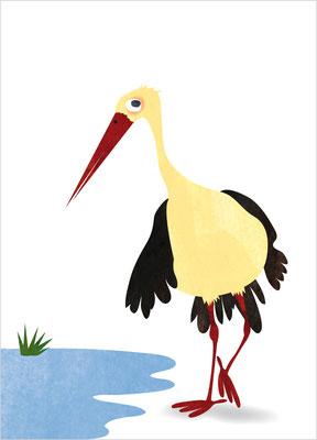 Postkarte Storch