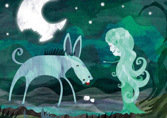 Postkarte Elfe und Esel