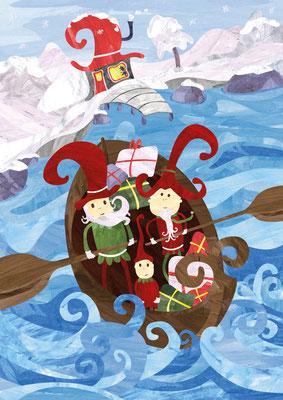 Postkarte Geschenkeboot