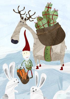 Postkarte Wichtel und Schneehasen