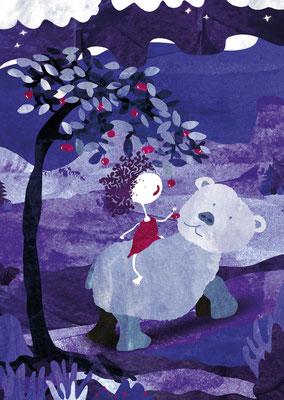 Postkarte Elfe und Bär