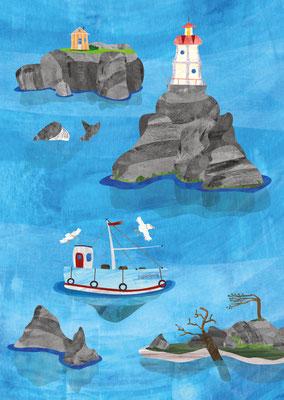 Postkarte Schären Leuchtturm