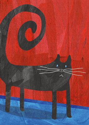 Postkarte Schwarze Katze