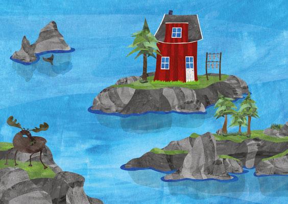 Postkarte Schären Rotes Haus