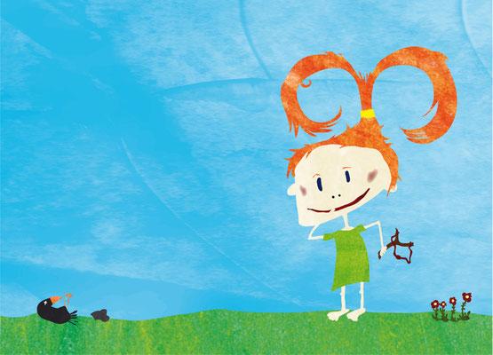 Postkarte Freches Mädchen