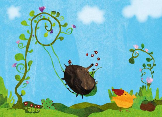 Postkarte Blumenschaukel