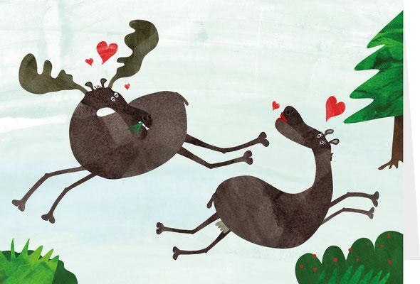 Grußkarte Elchpaar