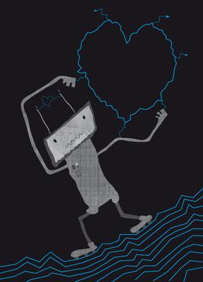 Postkarte Roboterherz