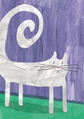 Postkarte Weiße Katze