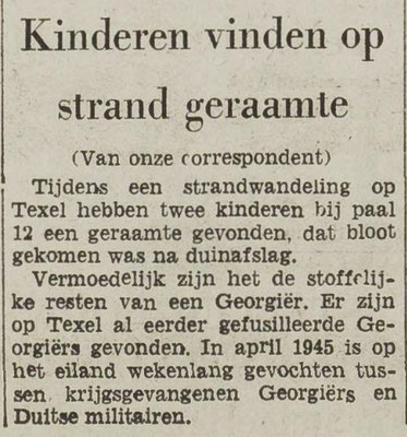 Newspaperclipping of 18-10-1968, when the remains of possible a Russian soldier was found on the beach at Texel.