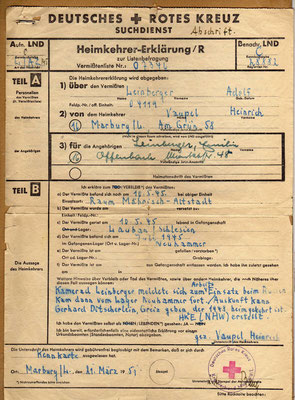Example of German Red Cross missing soldier form