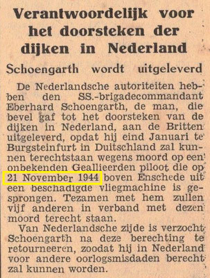 SS Commander Eberhard Schoengarth, trialed for murder on a (then) unknown allied soldier on 21-11-1944, Enschede.