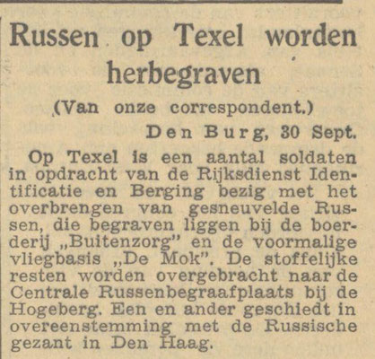 Newspaperclipping of 30-09-1947, reburial of the Russian soldiers to the Greogorian Cemetery