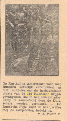 1-4-1946, reburial of 116 Russian POW, killed at Concentration Camp Amersfoort.