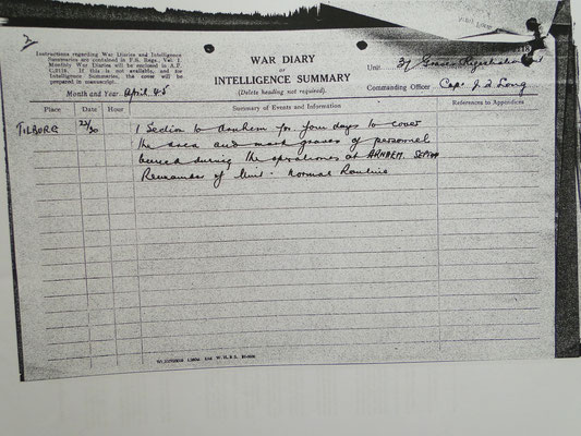 Parts of the War diaries of 37 Grave Registration Unit, whom took care of the Exhumation for the Arnhem-Oosterbeek War Cemetery.