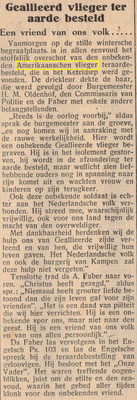 Article about the burial of the uknown soldier found in Keteldiep, article from Monday 21 January 1946, mention it is an unknown American flyer, which is incorrect.