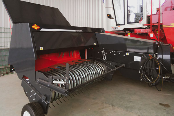 Our small high-density baler machine K838. Even the is colour was modified into black/red.