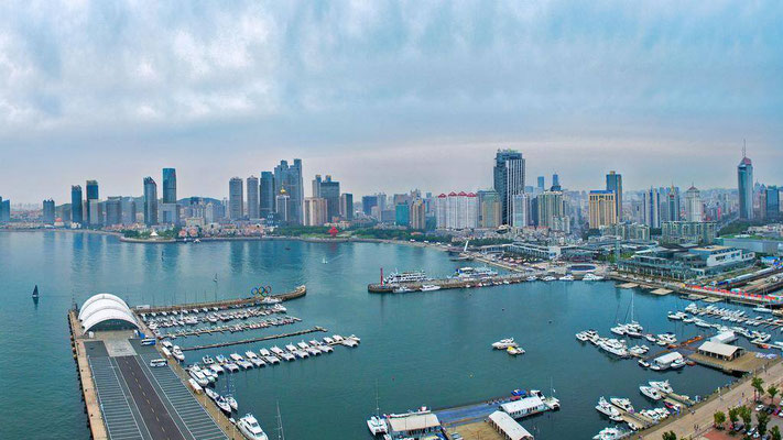 City of Qingdao. In 2012, Qingdao's international port went up to number seven in the world, with 350 million tons of output.