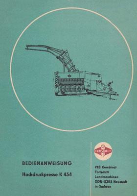 1984: High-density baler K454