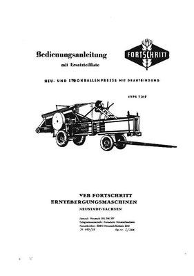 50er Jahre: Heu-und Strohballenpresse mit Drahtbindung vom Typ T317