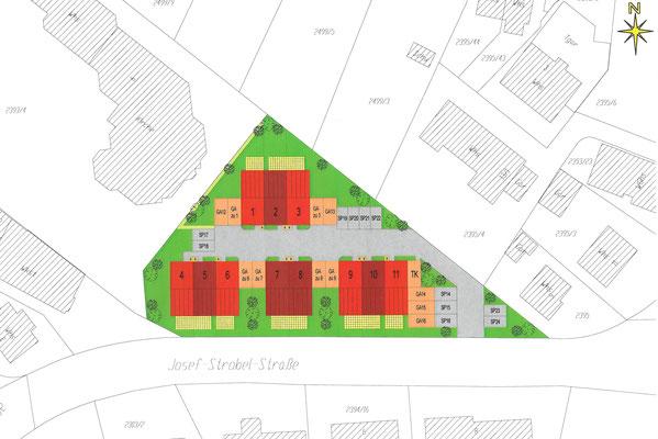 Neubau Doppelhaus und neun Reihenhäuser  Ravensburg-Oberzell, Josef-Strobel-Straße  Baujahr 2011 bis 2012