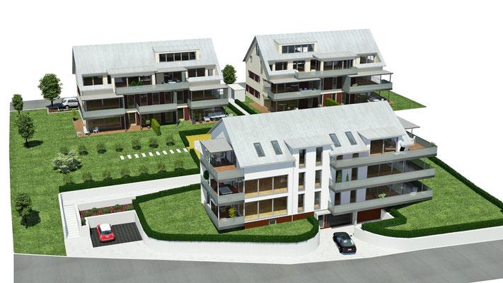Neubau drei Mehrfamilienhäuser mit 18 Wohnungen Wasserburg, Nonnenhorner Straße Baujahr 2010 bis 2011