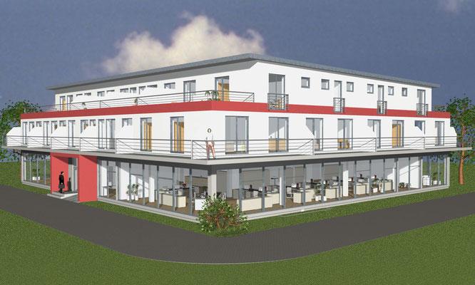Neubau Wohn- und Geschäftshaus Friedrichshafen, Merkurstraße Baujahr 2014 bis 2015