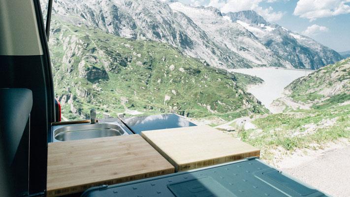Aussicht über die Alpen mit der calibox