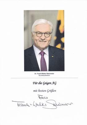 Dankesschreiben des Bundespräsidenten Steinmeier