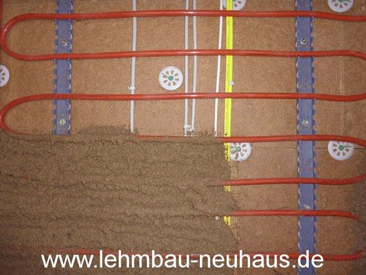 Wandheizung, Holzfaserdämmplatte, Lehmputz