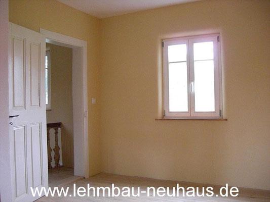 Lehmputz, Lehmfarbe, Eiche - Massivholzdielen - Arbeitszimmer