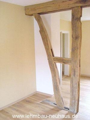 Lehmputz, Lehmfarbe, Eiche - Massivholzdielen - Gästezimmer