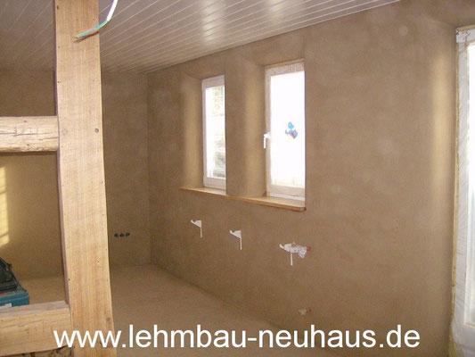 Lehm-Feinputz, Fensterlaibungen gerundet