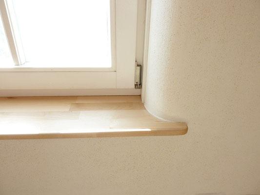 Fensterbrett - Laibungen abgerundet - Lehmputz