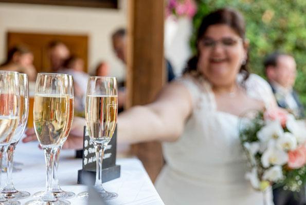 Ammersee Hochzeit Apricot Sektempfang