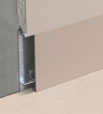 Flächenbündige / wandbündige Sockelleiste Aluminium ohne Schattenfuge