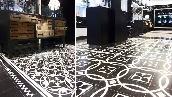 via zementfliesen s fischbacher living. Black Bedroom Furniture Sets. Home Design Ideas