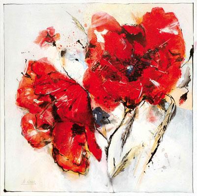 Mohn, 2 Blüten, Acryl, 50x50