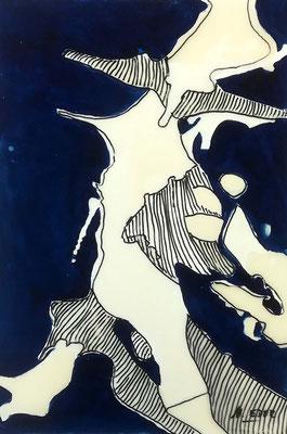 Blau 4, Öl und Wachs auf Karton, 42x60