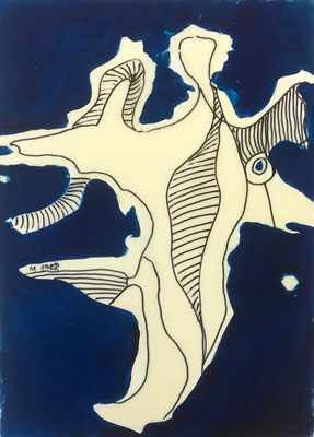 Blau 2, Öl und Wachs auf Karton, 42x60