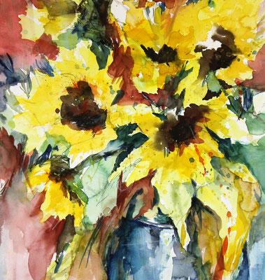 Sonnenblumen, Aquarell, 50x60