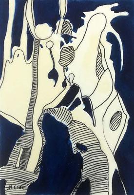 Blau 3, Öl und Wachs auf Karton, 42x60